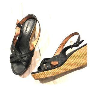 Corso Como black leather slingback wedge